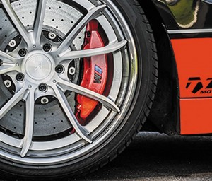 One of the most critical measurements is caliper offset. If this is not measure properly, the wheel spokes will bind with the brake calipers. (Photo, BLK Wheels)