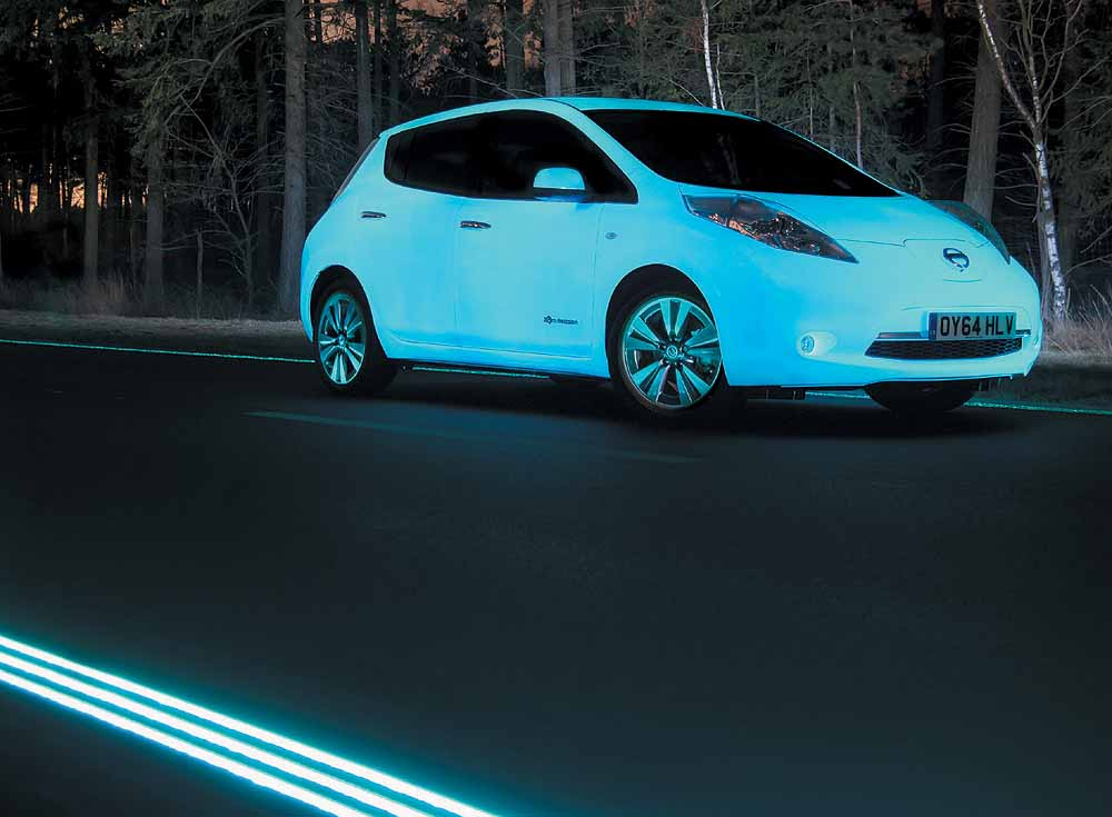 Glow In Dark Car Rides On A Luminescent Road The Octane